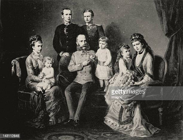 Austria's Royal family. Emperor Franz Joseph, Empress Elisabeth and their children Rudolf, Marie Valerie and Gisela. The latter with her husband...