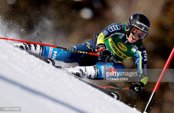 Austria's Sara Hector competes during the first run of the women's giant slalom event during the FIS Alpine Ski World Cup in Courchevel, French Alps,...