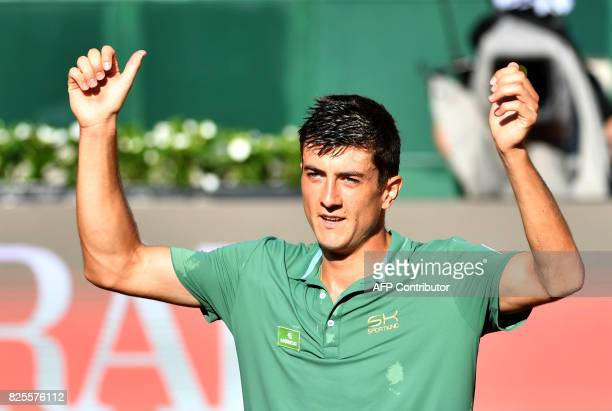 Austria's Sebastian Ofner reacts during a match against Uruguay's Pablo Cuevas at the ATP General Open Kitzbuehel Tennis Tournament on August 2 2017...