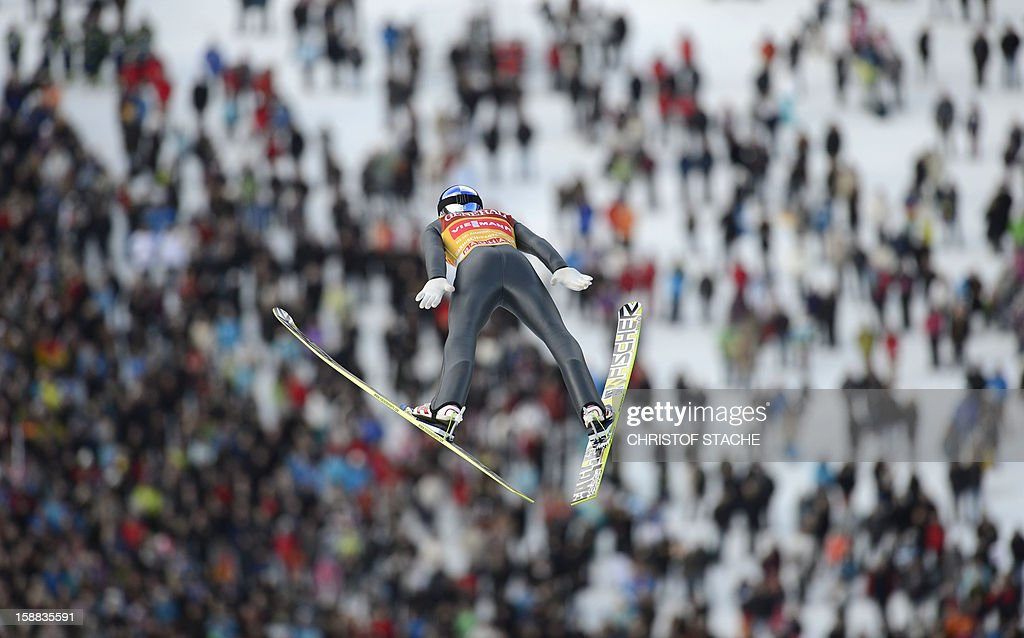 Austria's ski jumper Gregor Schlierenzauer soars through the air during his qualification jump at the 61th edition of the Four-Hills-Tournament (Vierschanzentournee) on December 31, 2012 in Garmisch-Partenkirchen, southern Germany. The second competition of the jumping event will take place in Garmisch-Partenkirchen, before the tournament continues in Innsbruck (Austria) and in Bischofshofen (Austria).