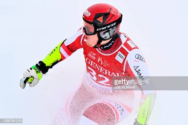 Austria's Stefan Babinsky reacts after his run during the men's Super-G event at the FIS Alpine Ski World Cup in Kitzbuehel, Austria, on January 25,...