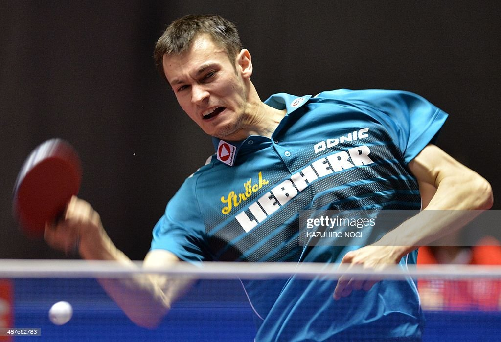 Austria's Stefan Fegerl returns a shot against Poland's Zengyi Wang during their match in the men's team championship division group A at the 2014 World Team Table Tennis Championships in Tokyo on May 1, 2014.