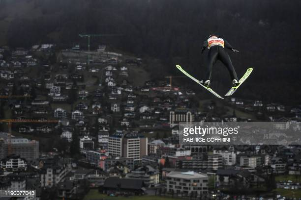 Austria's Stefan Kraft competes during the men's FIS Ski Jumping World Cup competition in Engelberg, central Switzerland, on December 22, 2019.