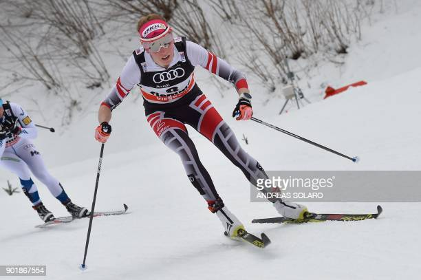 Austria's Teresa Stadlober competes on January 6, 2018 during the Women's Cross Country 10 km Mass Start Classic race of the FIS World cup Tour de...