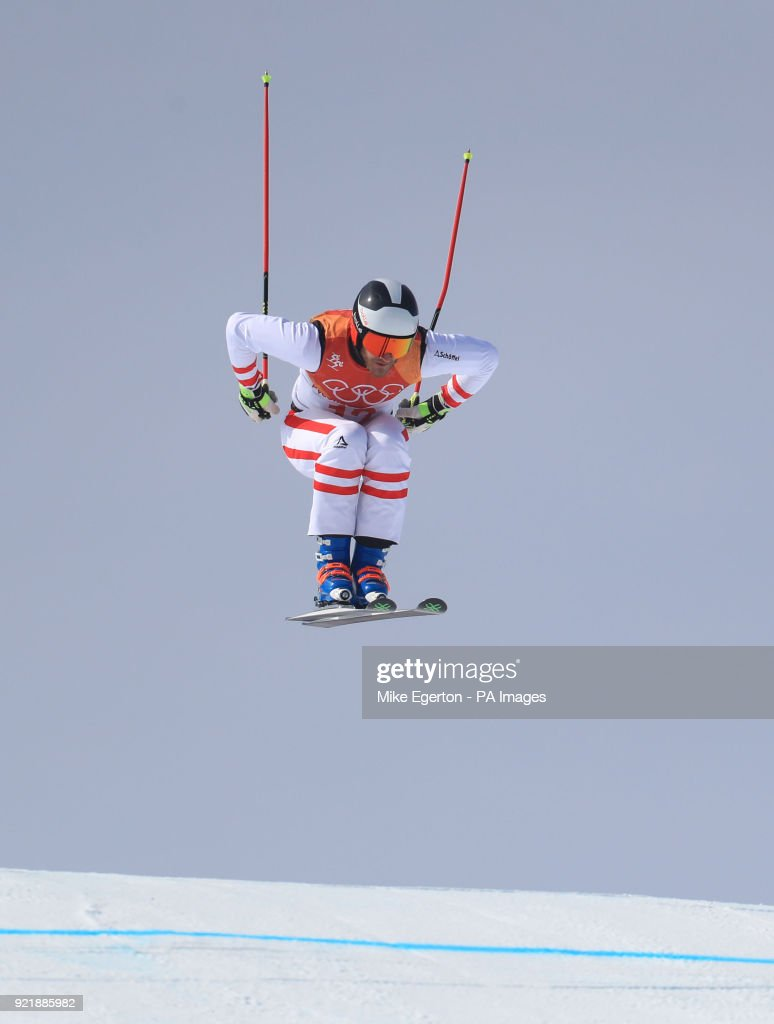 Austria's Thomas Zangerl in the Men's Ski Cross Final at the Phoenix Snow Park during day twelve of the PyeongChang 2018 Winter Olympic Games in South Korea.