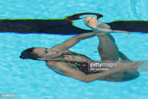 Austria's Vasiliki Alexandri competes in the Women Solo free routine final during the synchronised swimming competition at the 2017 FINA World...