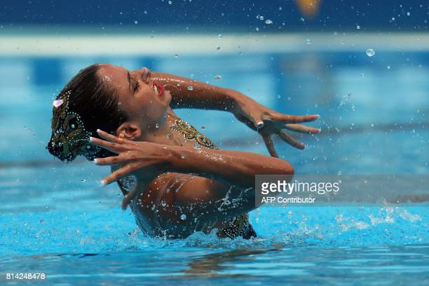Austria's Vasiliki Alexandri competes in the Women Solo technical preliminary during the synchronised swimming competition at the 2017 FINA World...
