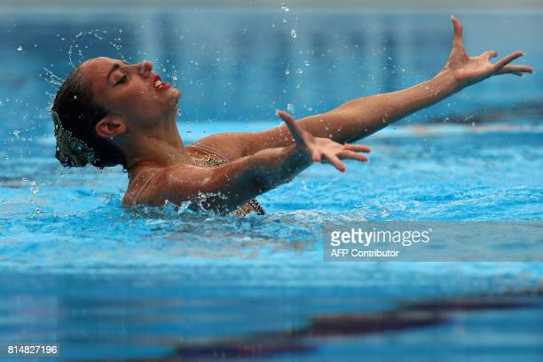 Austria's Vasiliki Alexandri competes in the Women Solo technical final during the synchronised swimming competition at the 2017 FINA World...