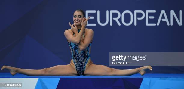 Austria's Vasiliki Pagon Alexandri competes in the solo free routine synchonised swimming final at the Scotstoun Sports Campus during the 2018...