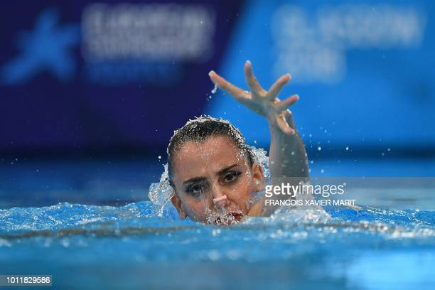 Austria's Vasiliki Pagon Alexandri competes in the solo technical routine final at the Scotstoun Sports Campus during the 2018 European Championships...