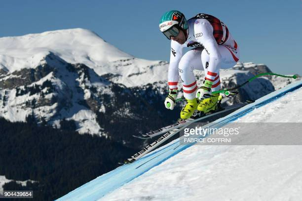 Austria's Vincent Kriechmayr competes in the Downhill race at the FIS Alpine Skiing World Cup in Wengen on January 13 2018 / AFP PHOTO / Fabrice...