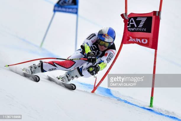 Austria's Vincent Kriechmayr competes in the men's SuperG combined event of the FIS Alpine Ski World Cup in Bansko Bulgaria on February 22 2019