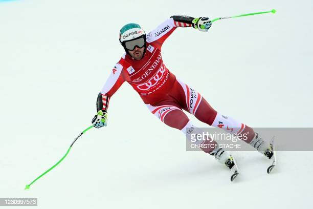 Austria's Vincent Kriechmayr competes to win the men's Super G event of the FIS Alpine Skiing World Cup in Garmisch-Partenkirchen, southern Germany,...