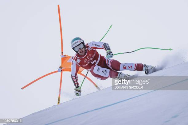 Austria's Vincent Kriechmayr races during the men's Super-G event at the FIS Alpine Ski World Cup in Kitzbuehel, Austria, on January 25, 2021. -...
