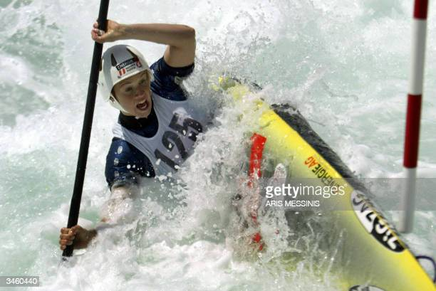 Austria's Violetta PetersOblinger competes on Women K1 Kayak Single during the Athens Slalom Racing World Cup 2004 at the Canoe / Kayak Olympic...