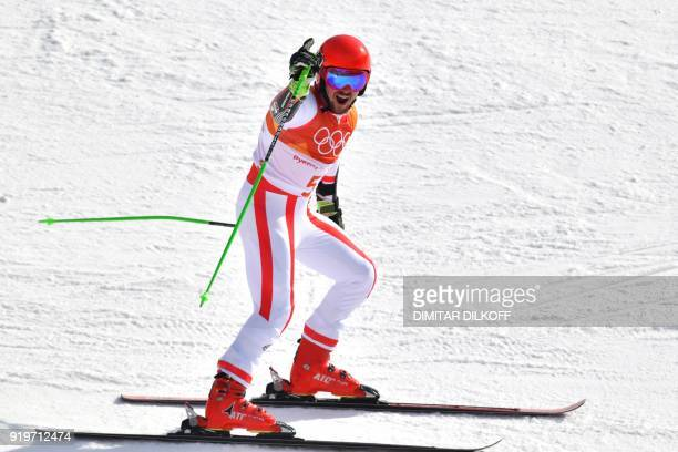 TOPSHOT Austria's winner Marcel Hirscher celebrates after the Men's Giant Slalom at the Jeongseon Alpine Center during the Pyeongchang 2018 Winter...