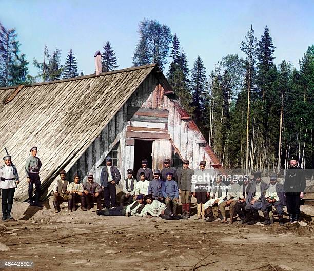 AustroHungarian prisoners of war near a barracks Karelia Russia WWI 1915 The Russians captured some 500000 AustroHungarian soldiers during the First...