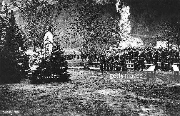 Austro-Hungarian soldiers celebrate a field mass in honour of the anniversary of the defense of Fort Hensel at the place of the same name ; standing...