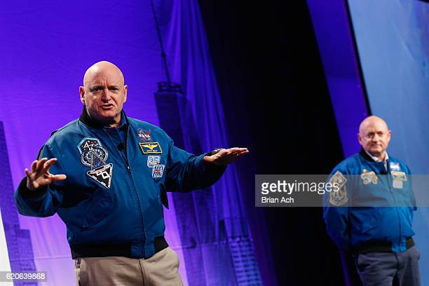 Austronauts Captain Scott Kelly and Captain Mark Kelly speak on stage at LocationWorld 2016 Day 1 at The Conrad on November 2 2016 in New York City
