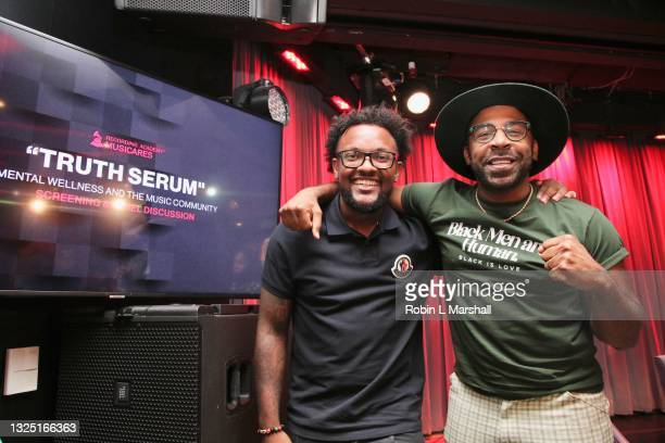 """Austyn Wyche and MAJOR attend the Grammy Museum & Musicare """"Truth Serum"""" Screening and Panel Discussion at The GRAMMY Museum on June 23, 2021 in Los..."""