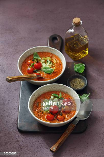 authentic gazpacho. spanish cold tomato soup - comfort food stock pictures, royalty-free photos & images