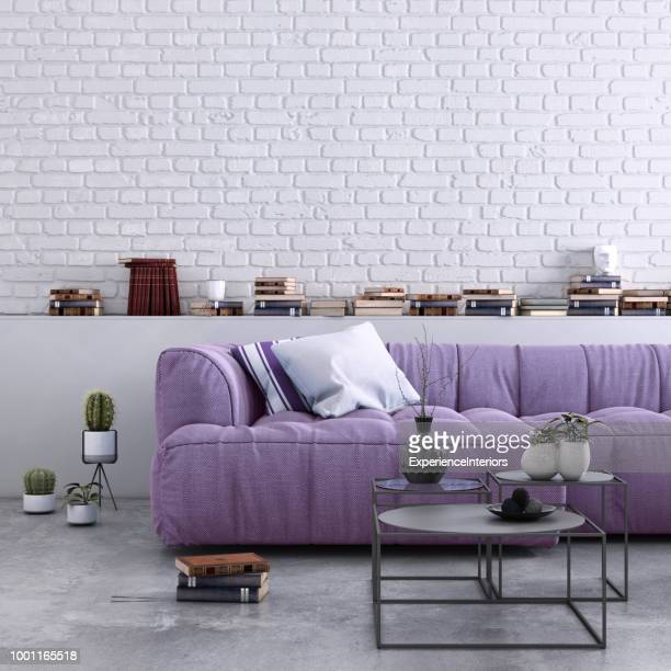 authentic home apartment interior with blank wall - purple stock pictures, royalty-free photos & images