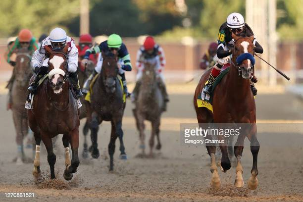 Authentic, ridden by jockey John Velazquez crosses the finish line to win the 146th running of the Kentucky Derby at Churchill Downs on September 05,...
