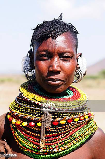 Authentic Turcana woman with colorful necklaces