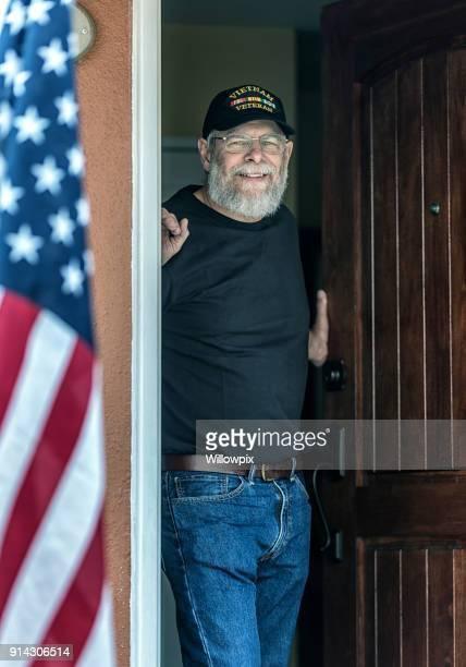 Authentic Vietnam War Military Veteran Smiling in Open Doorway