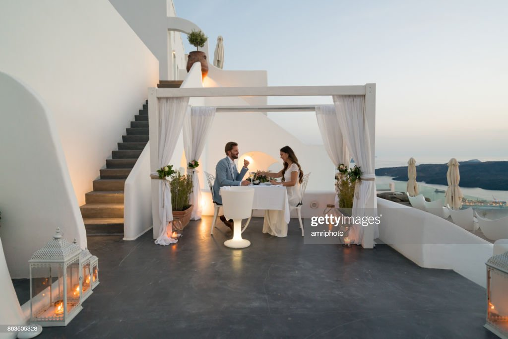 Authentic Wealth - dinner for two on private porch : Stock Photo