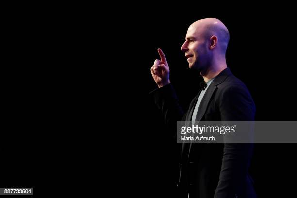 Author Adam Grant speaks during the Massachusetts Conference for Women 2017 at the Boston Convention Center on December 7 2017 in Boston Massachusetts