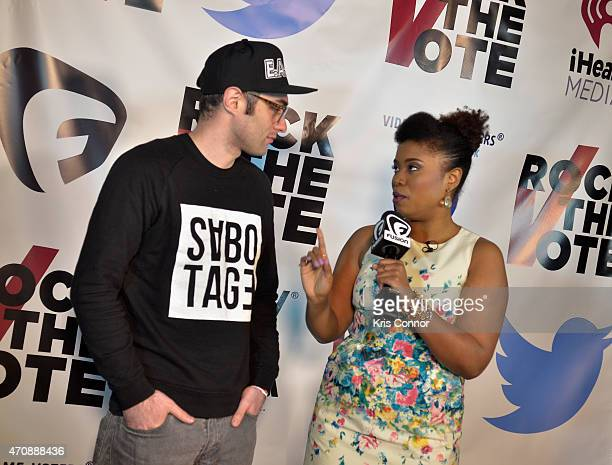 Author Akilah Hughes interviews DJ Shiftee as they attend Rock The Vote Annual WHCD Weekend KickOff Event presented by Fusion and Twitter on April 23...