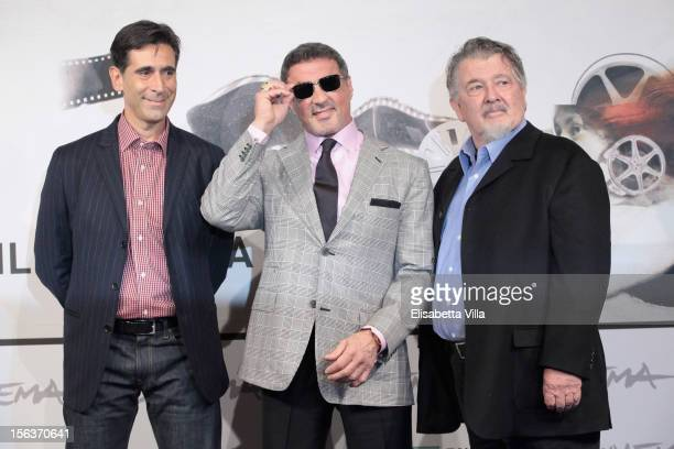 Author Alessandro Camon actor Sylvester Stallone and director Walter Hill attend the 'Bullet To The Head' Photocall during the 7th Rome Film Festival...