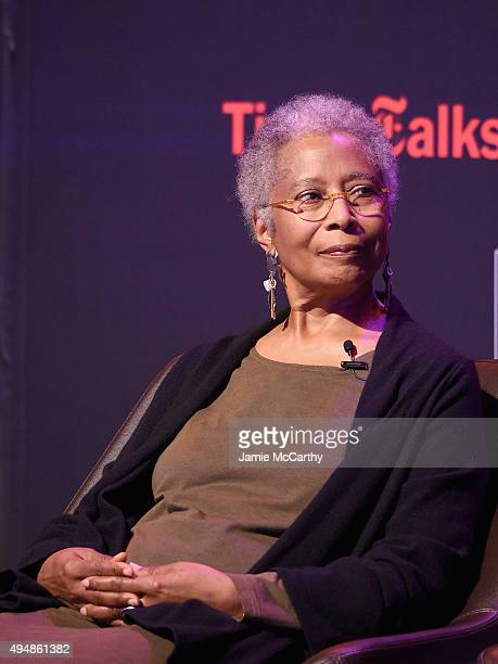 Author Alice Walker attends 'The Color Purple' TimesTalks Jennifer Hudson Cynthia Erivo Alice Walker John Doyle at The New School on October 29 2015...