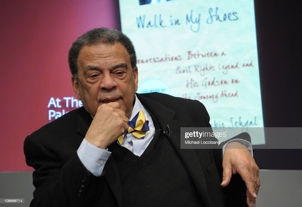 Author Ambassador Andrew Young addresses the audience during the 'Walk In My Shoes: Conversations Between A Civil Rights Legend and His Godson on The Journey Ahead' book Event at The Paley Center for Media on February 9, 2011 in New York City.