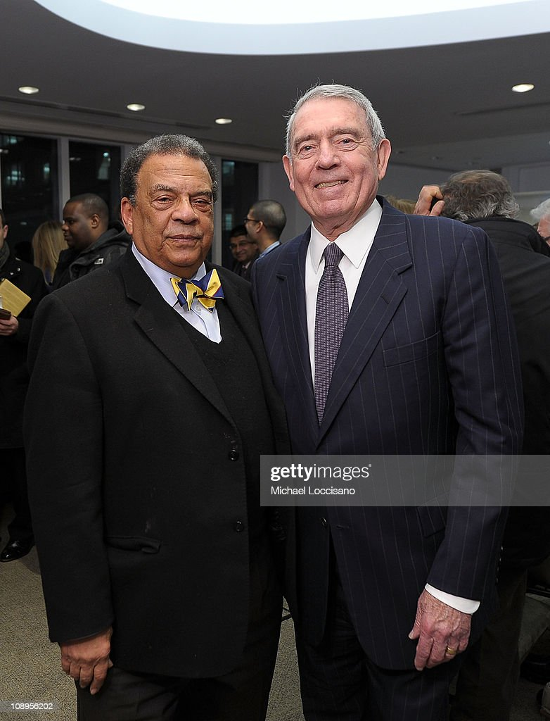 Author Ambassador Andrew Young and Correspondent Dan Rather attend the 'Walk In My Shoes: Conversations Between A Civil Rights Legend and His Godson on The Journey Ahead' book Event at The Paley Center for Media on February 9, 2011 in New York City.