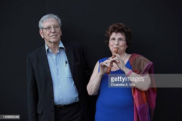 Author Amos Oz and wife Nili Oz pose during the Letterature 2012 - Festival Internazionale di Roma at Basilica di Massenzio on June 7, 2012 in Rome,...