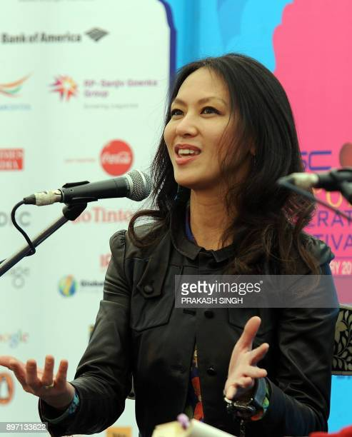 US author Amy Chua gestures as she speaks during the DSC Jaipur Literature Festival in Jaipur on January 21 2012 Indian police examined television...