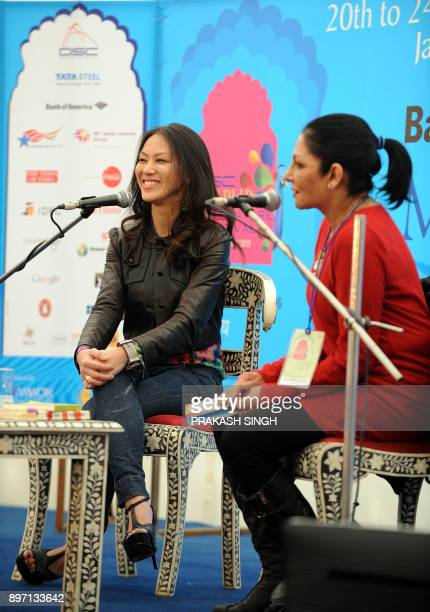 US author Amy Chua smiles during a conversation with Indian journalist Madhu Trehan on her book 'Tiger Mothers' during the DSC Jaipur Literature...