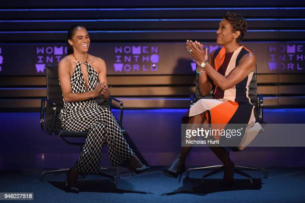 Author and American Ballet Theater Principal Dancer Misty Copeland and Good Morning America CoAnchor Robin Roberts speak onstage at the 2018 Women In...