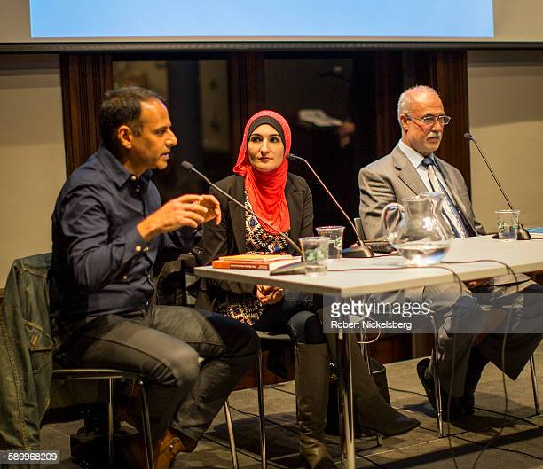 Author and associate professor Moustafa Bayoumi speaks during the 'Life after Surveillance in Bay Ridge's Muslim Community' panel discussion at the...
