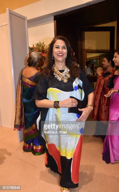 Author and columnist Shobhaa De at Dilip De's Smartphone School Of Art Exhibit 'Celebration Of The Unexpected' at Jehangir Art Gallery on January 26...