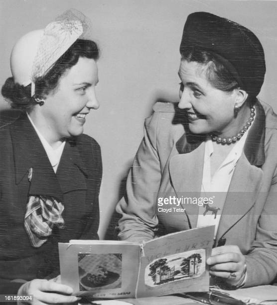 FEB 6 1952 FEB 7 1952 Author and FanMiss Caroline Bancroft Denver writer and researcher shows the 'dummy' of her new booklet 'The Melodrama of...
