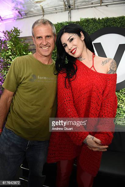 Author and Farm Sanctuary President Gene Baur with tattoo artist entrepreneur and television personality Kat Von D at the Fonda Theatre on October 23...