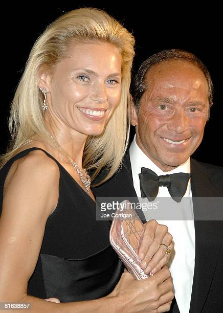 Author and former Miss Sweden Anna Aberg and singer/songwriter Paul Anka attend the 39th annual Songwriters Hall Of Fame awards dinner on June 19...