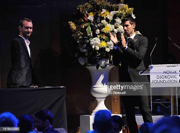 Author and inspirational speaker Nick Vujicic and tennis player Novak Djokovic founder and honorary chair speak on stage during The Novak Djokovic...