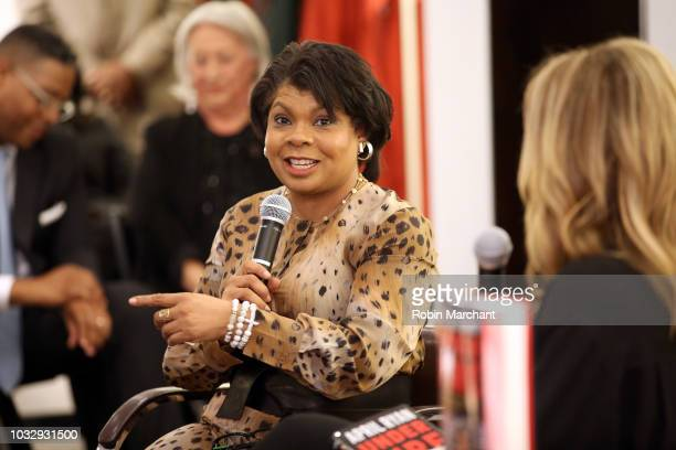 Author and journalist April Ryan speaks during Lafayette 148 New York x April Ryan 'Under Fire' Book Launch on September 13 2018 in New York City