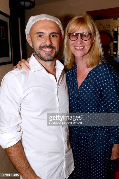 author and stage director Remi Caccia with actress Chantal Ladesou after Christelle Chollet one woman show The New Show written and set stage by Remy...