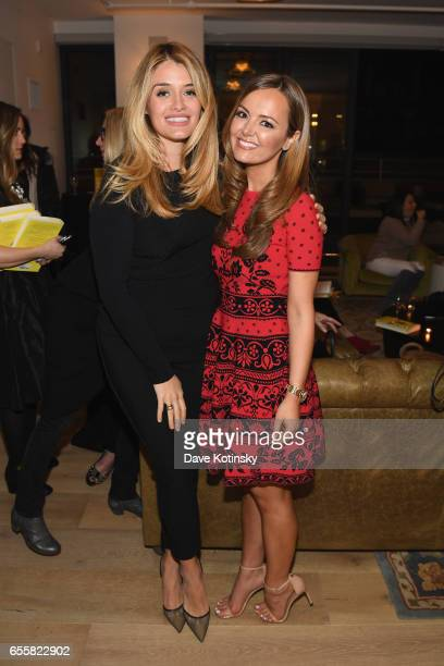 Author and TV host Daphne Oz poses with Nicole Lapin at a private party to celebrate the release of Nicole Lapin's second book 'BOSS BITCH' at a...