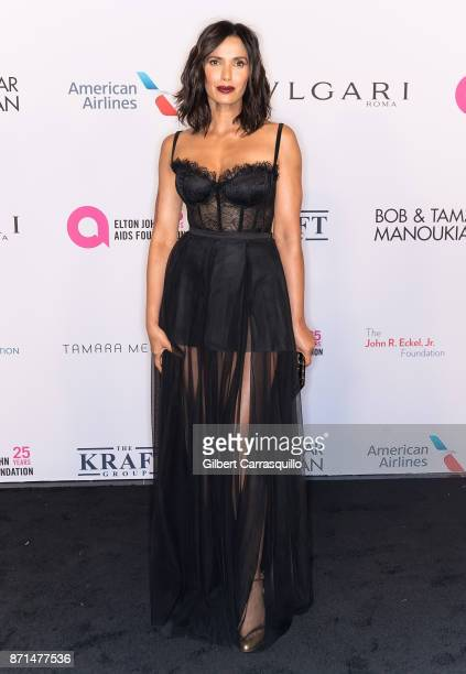 Author and TV host Padma Lakshmi attends as the Elton John AIDS Foundation commemorates its 25th year and honors founder Sir Elton John during the...